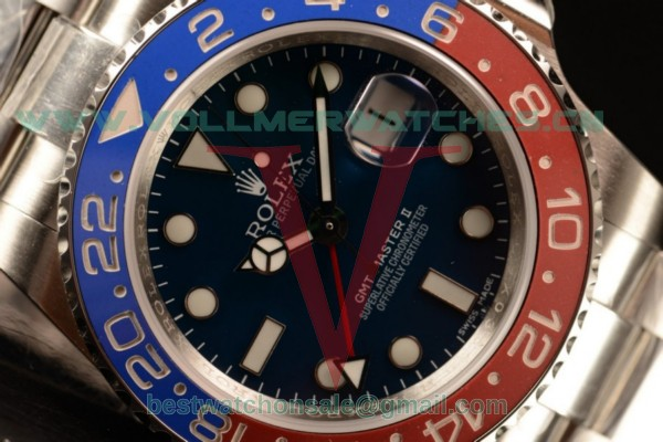 1:1 Rolex GMT-Master II Swiss ETA 2836 Auto Blue Dial With Steel Case 116719BLSO