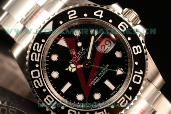 1:1 Rolex GMT-Master II Clone Rolex 3186 Auto Black Dial With 904 Steel Case 116710bkso (NOOB)
