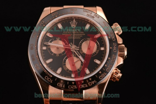 Rolex Daytona Chrono 7750 Auto Rose Gold Dial with Rose Gold Case - 116515 LNpsbc (JF)